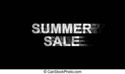 lato, telewizja, tekst, sprzedaż, skutek, glitch, ożywienie, 4k, cyfrowy, zniekształcenie, pętla
