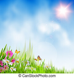 lato, time., abstrakcyjny, środowiskowy, tła