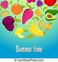 lato, time., tło, barwny, owoce