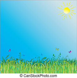 lato, trawa, zielone tło
