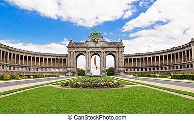lato, triumfalny, parc, łuk, belgia, kwiaty, brukselski, cinquantenaire