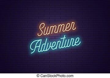 lato, tytuł, tekst, neon, adventure., jarzący się