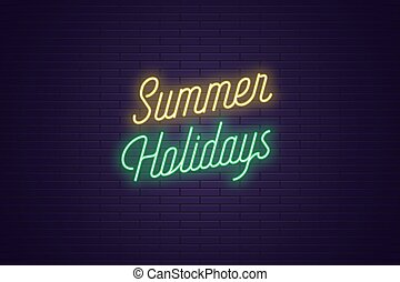 lato, tytuł, tekst, neon, holidays., jarzący się