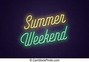 lato, tytuł, tekst, neon, jarzący się, weekend.