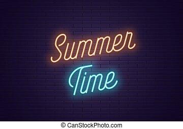 lato, tytuł, tekst, neon, time., jarzący się
