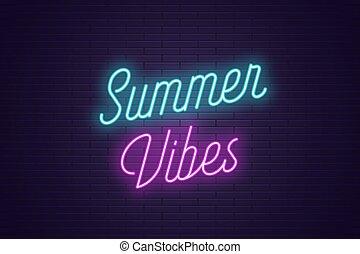 lato, tytuł, tekst, neon, vibes., jarzący się