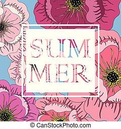 lato, ułożyć, kwiaty, slogan