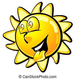 lato, uśmiechanie się, chłodny, słońce