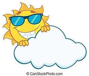 lato, uśmiechanie się, za, chmura, słońce