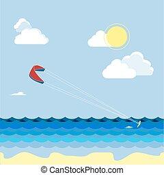 lato, vacation., kitesurfing, sport., woda, skiers, człowiek