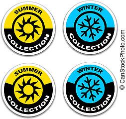 lato, wektor, majchry, zima, zbiór