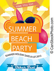 lato, wektor, plażowa partia, afisz