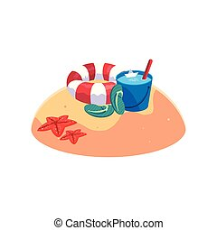 lato, wiadro, scena, woda, piasek plaża