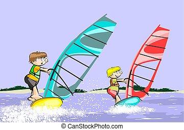 lato, windsurf, rysunek