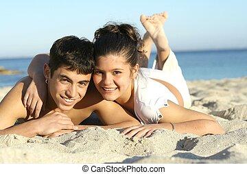 lato, wiosna, para, młody, urlop, złamanie, święto, plaża, albo, szczęśliwy