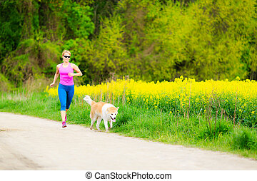 lato, wyścigi, kobieta, park, pies