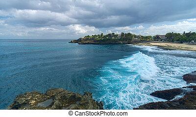 lato, wyspa, lembongan, słoneczny, asian, plaża, dzień, piaszczysty