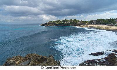 lato, wyspa, słoneczny, asian, plaża, dzień, piaszczysty