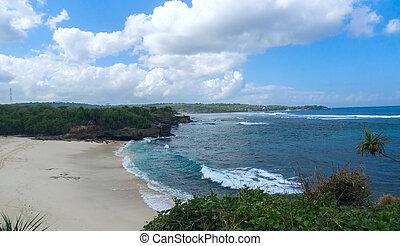 lato, wyspa, słoneczny, plaża, dzień, piaszczysty