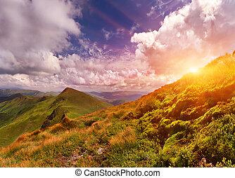 lato, zachód słońca, góry., krajobraz