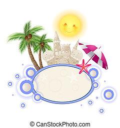 lato, zamek, piasek, tło