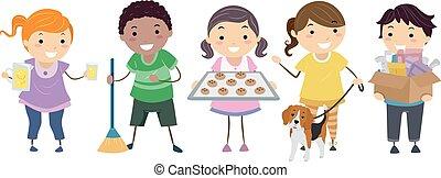 lato, zarobić, dzieciaki, stickman, pieniądze, ilustracja