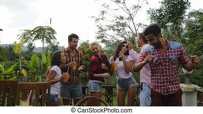 lato, zebranie, grupa, ludzie, gotowanie, młody, radosny, taniec, rożen, partia, przyjaciele, posiadanie, taras