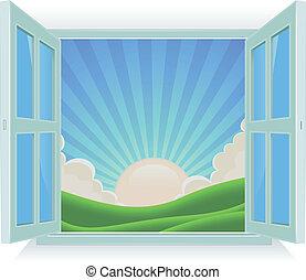 lato, zewnątrz, okno, krajobraz