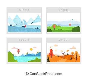 lato, zima, wiosna, natura, seasons:, płaski, krajobraz., jesień, scenes., wektor, style., minimalny, cztery