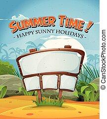 lato, znak, drewno, ferie, plaża, krajobraz