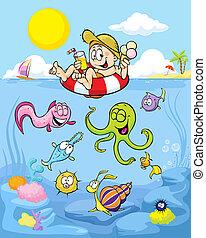 lato, zwierzęta, plaża, istota, dobrze, chłopiec, zabawny,...