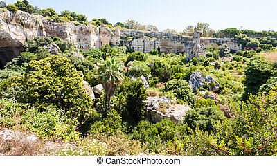 latomie del paradiso area in Archaeological Park - travel to...