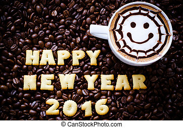 "latte art coffee and alphabet "" happy new year 2016"" made from bread cookies on coffee beans background"