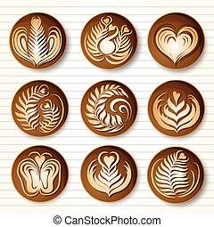 Latte art coffee - Set of latte art coffee design ,top...