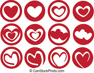 Latte Art Inspired Heart in Cup Vector Icon Set