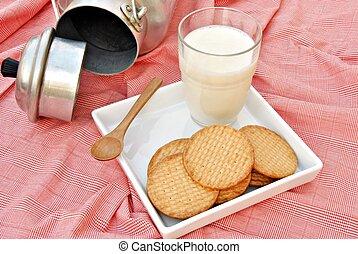 latte biscotti, su, uno, tovaglia