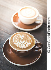 Latte coffee cup - Soft focus on latte coffee cup - vintage...