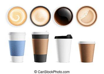 latte, eco, grande tasse, devant, cappuccino., sommet, vecteur, boissons, boissons, isolé, cup., express, ensemble, vue, vue, lait, petit déjeuner, café, chaud, mousse, réaliste
