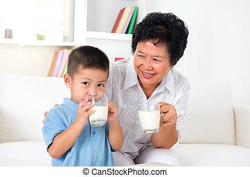 latte, insieme, bevanda
