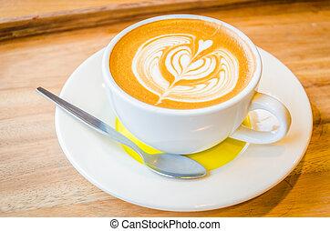 latte, kunst, bohnenkaffee