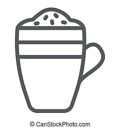 Latte line icon, coffee and cafe, coffee mug sign vector graphics, a linear pattern on a white background, eps 10.