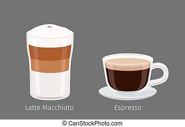 Latte Macchiato and Espresso Coffee Illustration - Coffee...