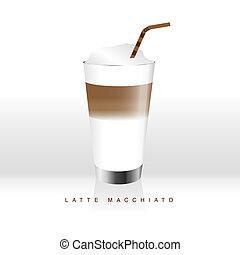 latte macchiato coffee liquid color illustration - latte...