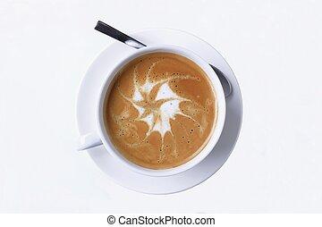 latte, mit, bierschaum, kunst