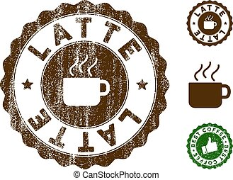 Latte Stamp Seal with Grunge Surface