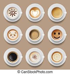 latte, vettore, realistico, cappuccino, vista, caldo, americano, caffè, cima, mattina, illustrazioni, bibite, cups.