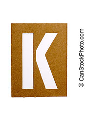 """Cardboard stencil letter """"K"""" for the replication of the letters and make words."""