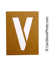 """Cardboard stencil letter """"V"""" for the replication of the letters and make words."""