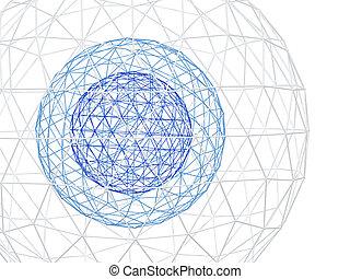 lattice, abstratos, fundo branco, 3d