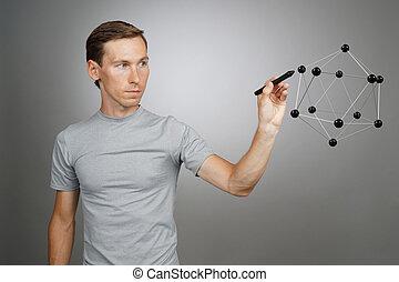 lattice., arbete, molekyl, kristall, forskare, modell, eller, man